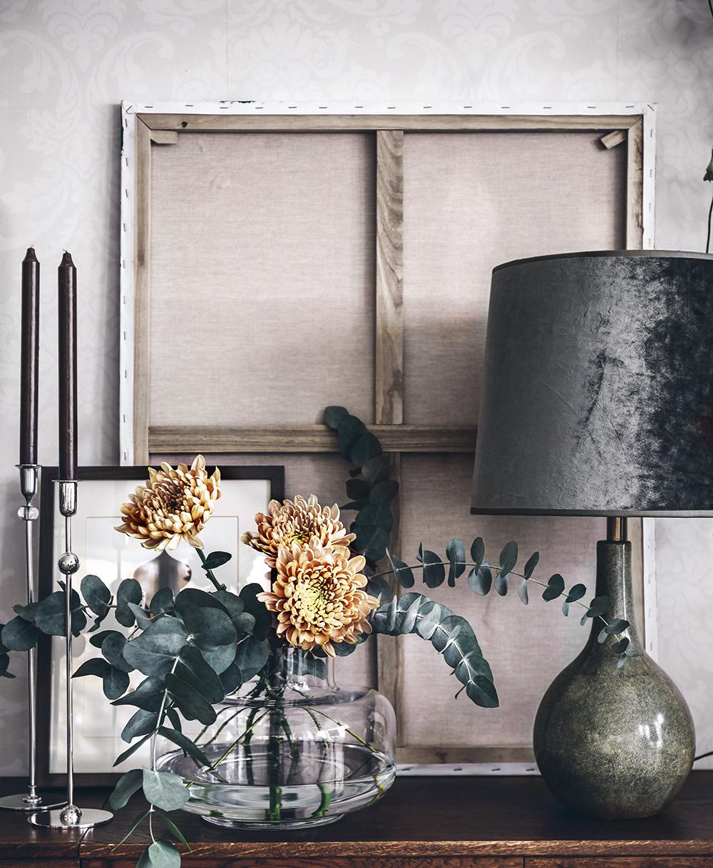 Ny bordslampa och krysantemum på snitt!